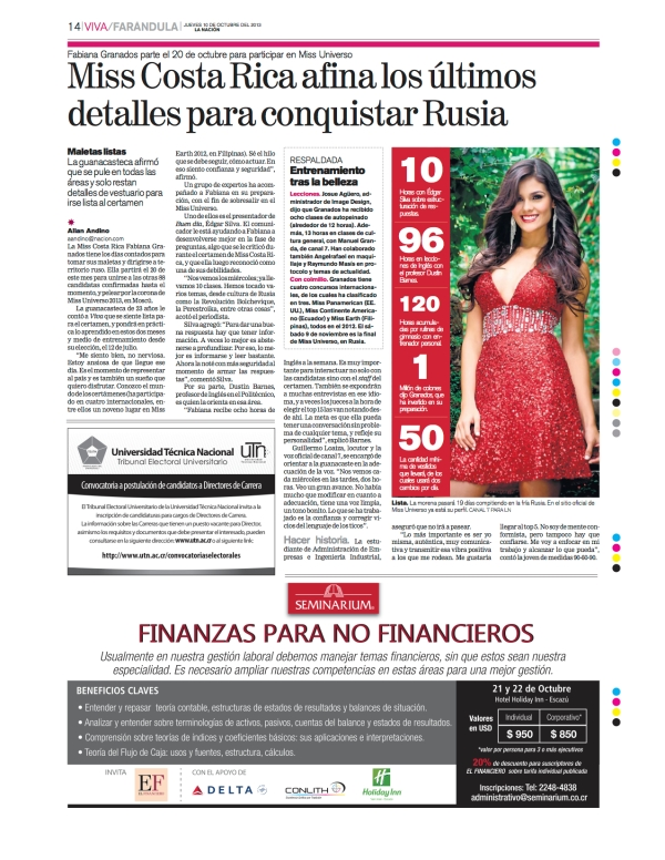 Article in La Nación on October 10, 2013 about my work with Miss Costa Rica, Fabiana Granados