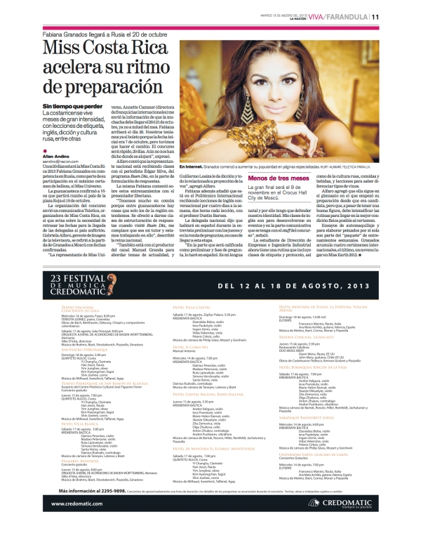 An article about my work with Miss Costa Rica 2013, Fabiana Granados